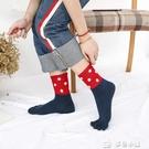 五指襪秋冬新品女士純棉五指襪中筒甜美拼色圓點款吸汗防臭分趾襪