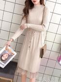 蕾絲打底針織洋裝女裝春裝新款潮韓版長款秋冬毛衣裙子過膝 錢夫人
