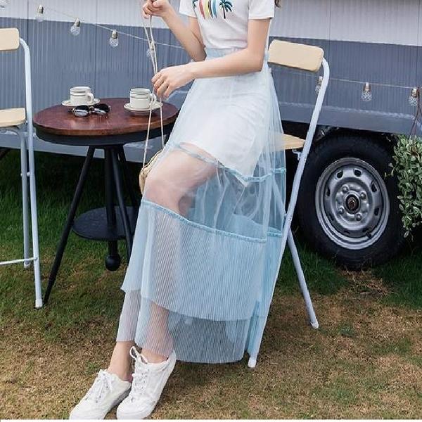 透視網紗長裙(不含內白長T/ 只販售透視藍色網紗裙/ 內需再自行搭配) [98885-QF]