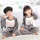 秋冬季兒童珊瑚絨睡衣套裝大小孩加厚法蘭絨卡通男女童純棉家居服