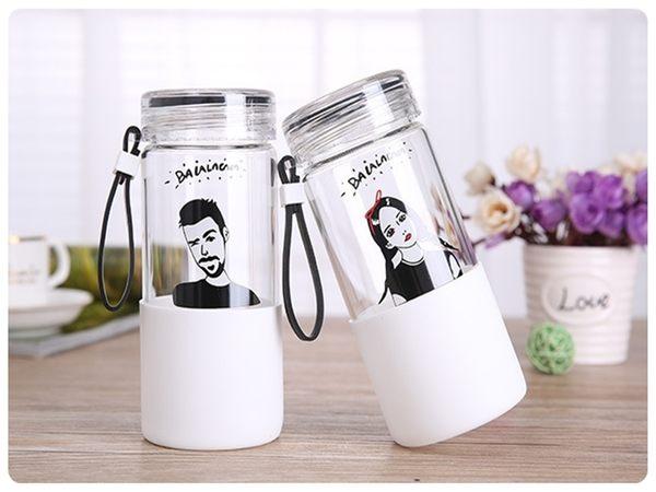 【名模玻璃杯】韓系大口徑寬口高硼矽泡茶杯 茶漏玻璃瓶 手提繩水壺 泡茶壺