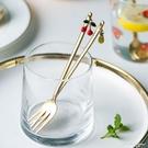 摩登主婦不銹鋼水果叉甜品勺創意櫻桃咖啡攪拌勺子套裝歐式小奢華 黛尼時尚精品