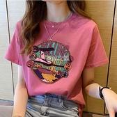 含棉短袖T恤女夏季新款韓版寬鬆百搭圓領學生ins印花上衣潮