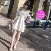 2021夏季女裝名媛甜美氣質修身白色一字領露肩連身裙優雅小禮服潮禮服 阿卡娜