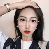 近視眼鏡框女可配復古黑色平光眼睛網紅款透明素顏神器大圓臉顯瘦