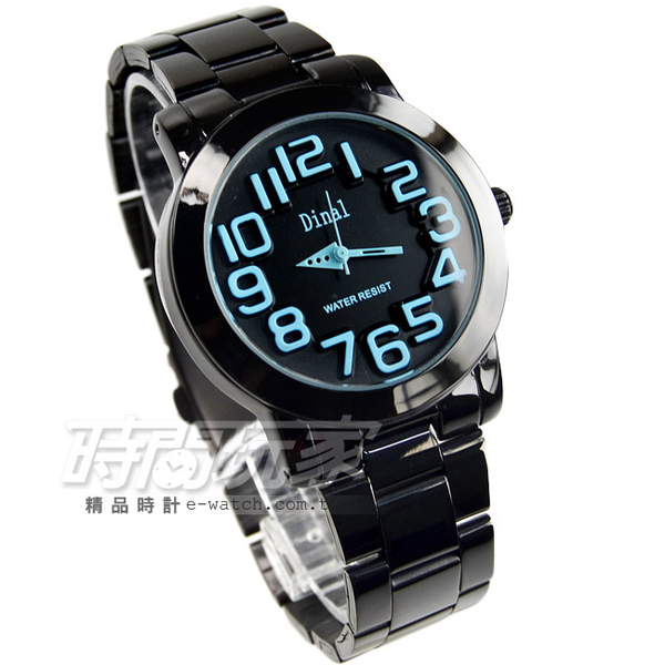 Dinal 時尚數字時刻腕錶 粉藍x黑 IP黑電鍍 D8162IP粉藍