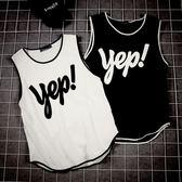 港風潮夏裝潮男士寬鬆籃球背心韓版短袖t字母印花無袖健身T恤汗衫  巴黎街頭