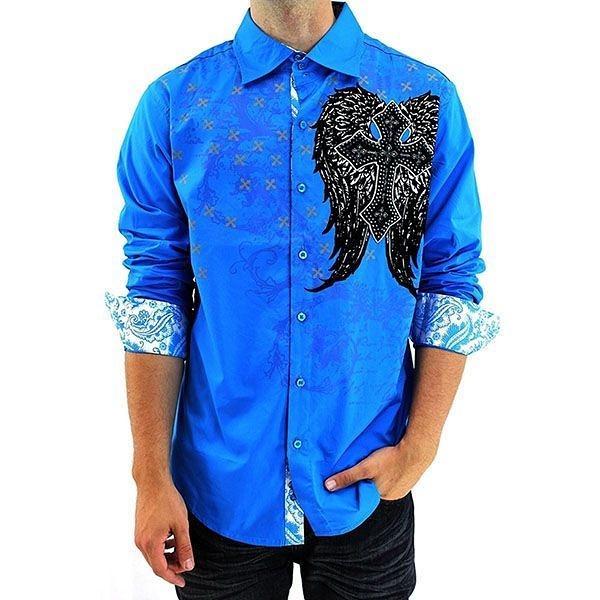 『摩達客』美國進口潮時尚設計【Victorious】十字之翼藍色長袖襯衫(10213099001)