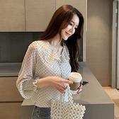 白色襯衫女夏2021新款春秋韓版波點很仙防曬洋氣泡泡袖雪紡衫上衣 幸福第一站