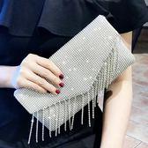 銀色水鉆夏季手拿包女時尚百搭宴會大容量信封包手抓包 炫科技