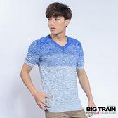 BIG TRAIN  麻花V領短袖線衫-男-寶藍