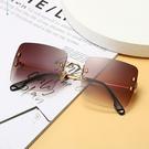 歐美時尚方框金屬墨鏡 漸層茶 獨家不撞款 精緻流行高品質顯小臉太陽眼鏡