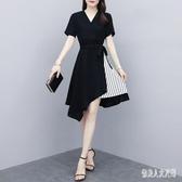 大尺碼洋裝 名媛連身裙夏季2020新款胖mm韓版黑色V領收腰不規則裙子 TR1326 『俏美人大尺碼』
