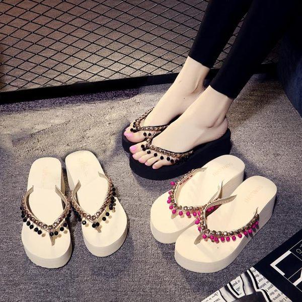 人字拖夏季厚底人字拖女坡跟高跟沙灘拖鞋時尚夾腳韓版海邊涼拖女夏外穿麥吉良品