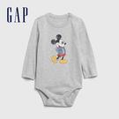 Gap嬰兒 迪士尼印花圓領長袖包屁衣 599844-淺麻灰