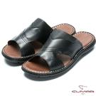 CUMAR 舒適真皮 簡單大方氣墊涼拖鞋...