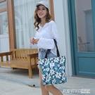 韓版新款手提單肩包女簡約百搭購物袋印花小清新學生文藝托特包 英賽爾