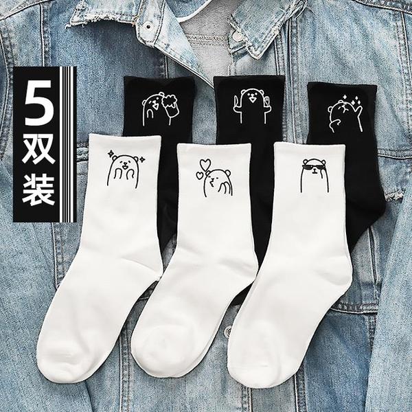 5雙裝 中筒襪女春秋冬純棉可愛日系純色長襪【貼身日記】
