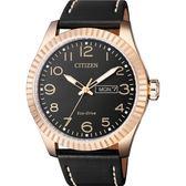 【台南 時代鐘錶 CITIZEN】星辰 Eco-Drive光動能 強悍工業風格造型腕錶 BM8533-13E 皮帶 玫瑰金