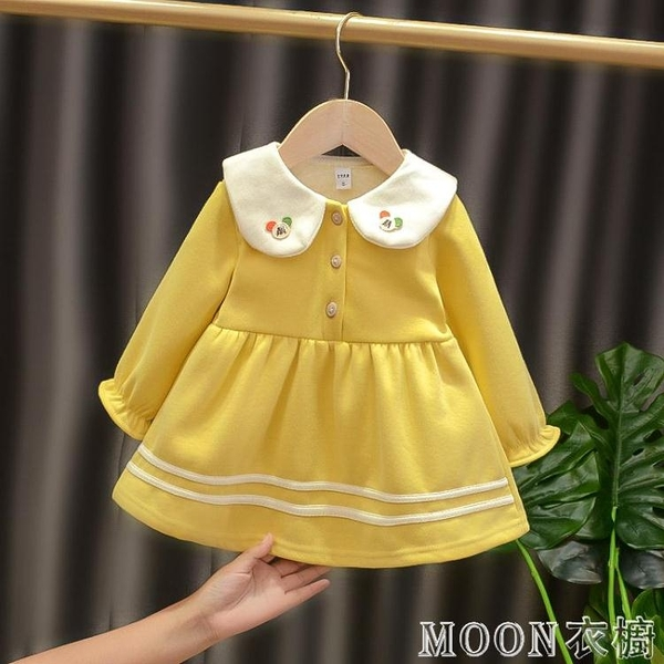 女童洋裝 女寶寶洋裝女童新款韓版加厚小兒童洋氣長袖衛衣公主裙 快速出貨