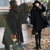 現貨L中大尺碼雙排扣腰帶雙面羊絨呢子大衣中長款女黑色毛呢外套3F057.8815