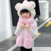 韓版保暖雙層加厚兒童冬天女童帽子圍巾手套三件套裝一體帽蝴蝶結 韓慕精品