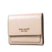 美國正品 KATE SPADE 專櫃款 防刮十字紋三折釦式短夾-奶茶色【現貨】