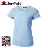 【EasyMain 衣力美 女抗菌防臭涼爽排汗短袖T恤《藍》】TE20036/排汗衣/運動短袖/休閒上衣