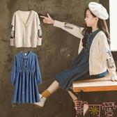 女童套裝韓版中大兒童裝牛仔連身裙兩件套【聚可愛】