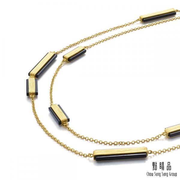 點睛品 g*collection系列 矩形黑玉髓黃金項鍊