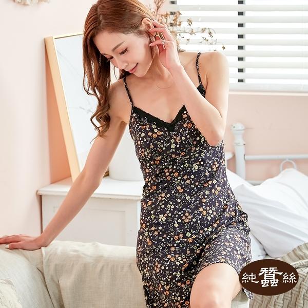【岱妮蠶絲】純蠶絲細肩帶連身洋裝(黑桔花)