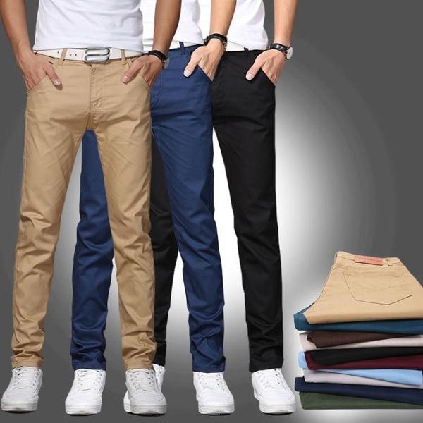 春季薄款男士寬鬆夏季直筒修身黑色休閒褲男褲小腳褲子男韓版潮流   遇見生活