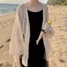 防曬服 外搭防曬衣外套女2021新款薄款鏤空夏季中長款蕾絲衫網紗開衫上衣
