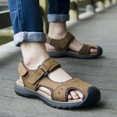 涼鞋-真皮戶外休閒包頭厚底男休閒鞋3色73mi5【巴黎精品】