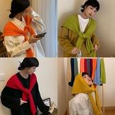 針織圍巾女小披肩外搭毛線打結女搭肩假護頸秋季【奇妙商舖】