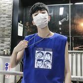 背心 夏季運動跨欄寬肩背心潮流學生無袖T恤男生個性籃球韓版寬鬆坎肩