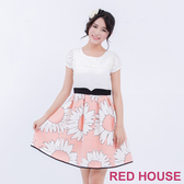 【RED HOUSE 蕾赫斯】雪紡拼接花朵洋裝(共2色)