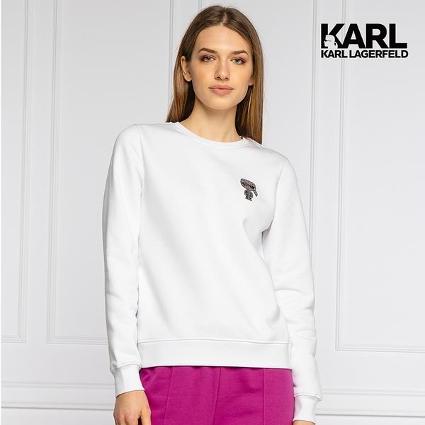 【KARL LAGERFELD】迷你IKONIK 亮鑽運動衫-白