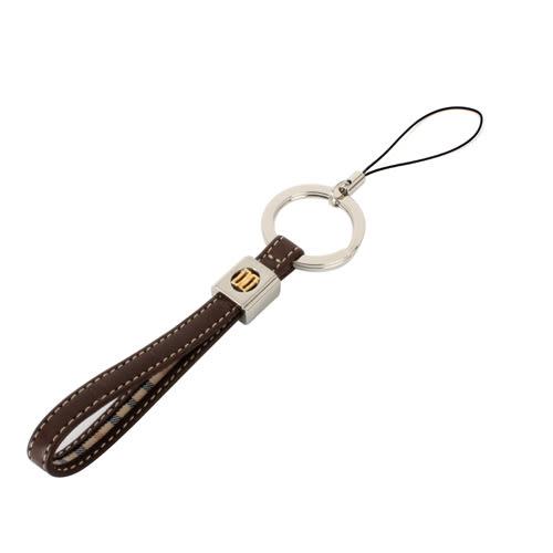 DAKS 經典雙D標誌皮革鎖圈吊飾(咖啡色)230807-1