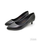 低跟鞋圓頭黑色職業鞋女中跟上班單鞋皮鞋細跟工作鞋舒適正裝禮儀    艾維朵