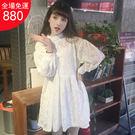 蕾絲A型燈籠袖鏤空高腰裙 P1021