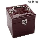 【快樂購】韓國高檔皮革公主首飾盒