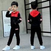 兩件式男童套裝 秋裝套裝全館免運新品正韓兒童中大童春秋男孩運動衛衣兩件式【優兒寶貝】