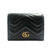 【台中米蘭站】全新品 GUCCI GG Marmont 牛皮金屬雙G暗釦卡夾/零錢包 (466492-黑)