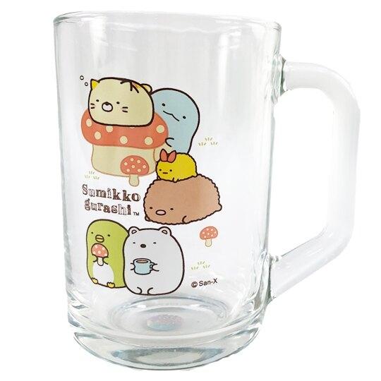 小禮堂 角落生物 玻璃馬克杯 啤酒杯 飲料杯 透明水杯 玻璃杯 441ml (蘑菇) 4718733-25707