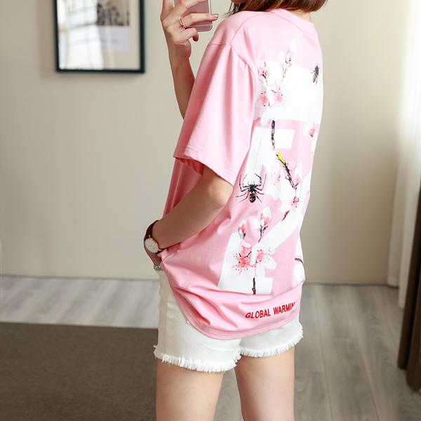 《澤米》OFF WHITE純棉t桖 女櫻花粉 黑色 粉紅色T桖 短袖ins同款潮牌 男女短T情侶裝