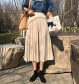 秋季新款韓版鬆緊高腰純色百搭中長裙子學生半身裙復古百褶裙 芭蕾朵朵