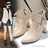 秋冬季新款時尚高跟短靴女粗跟尖頭顯瘦百搭短筒及踝靴馬丁靴(免運快出)