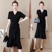 洋裝 韓版寬鬆大碼氣質連身裙過膝高端 降價兩天