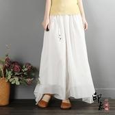 中國風雪紡闊腿褲女 夏季寬鬆休閒瑜伽褲 茶服仙女裙褲 萬聖節鉅惠